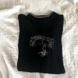 Vintage embroidered crewneck knit sweater